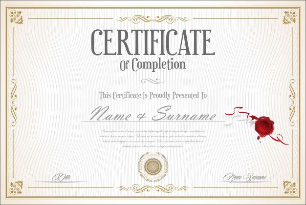 Certificate Or Diploma Retro Vintage Template Vintage Template Retro Vintage Retro
