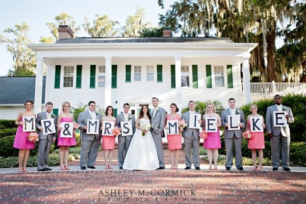 PHOTO IDEA: Spell out your new name in a fun shot with the wedding party! 16 people (7 projected maids and men:)  -m -r -& -m -r -s -m -u -c -c -I -a -r -o -n -e