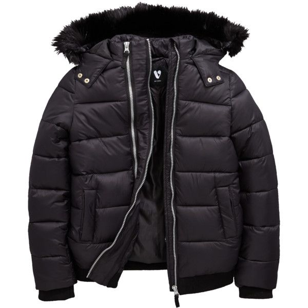 V By Very Girls Double Zip Padded Jacket With Faux Fur Hood ($37) ❤ liked on Polyvore featuring outerwear, jackets, quilted jacket, hooded jacket, fur jacket, fur hooded jacket and padded jacket