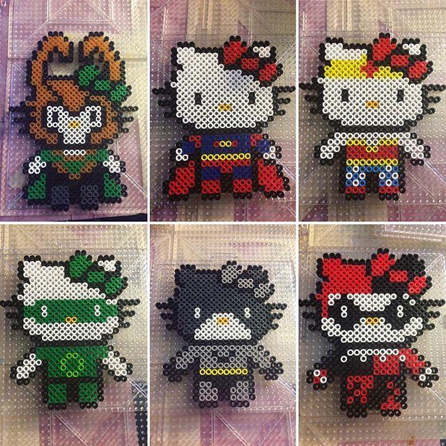 Superhero Hello Kitty perler beads by phoenixgirlcreations