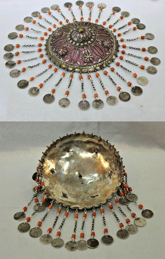OTTOMAN ANTIQUE ORIGINAL SILVER CORAL BRIDAL HEAD PIECE. 18th Century. - churoazra ebay