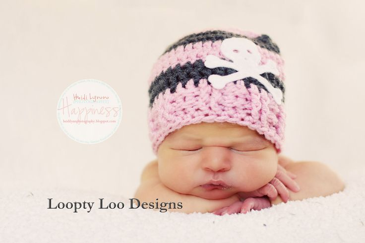 Baby Skull Crochet Hat  -Newborn Photo Prop, Stripes, Photo Prop, Girl, Boy - NEWBORN TO 12 MONTHS  (additional colors available). $24.00, via Etsy.