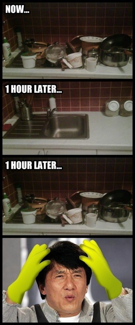 I don't know why Jackie Chan is confused in my kitchen but This is how I feel everyday!!