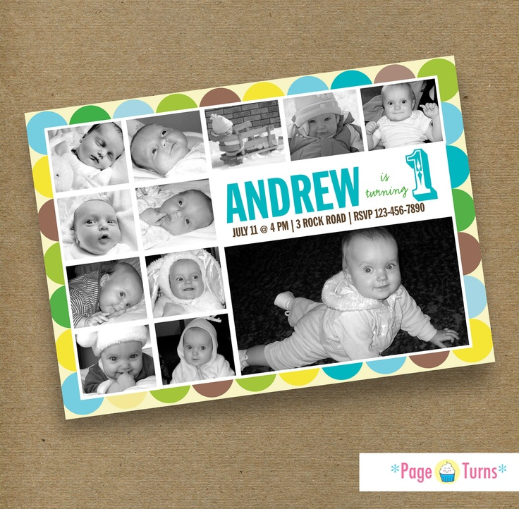 12 Month First Birthday Photo Collage