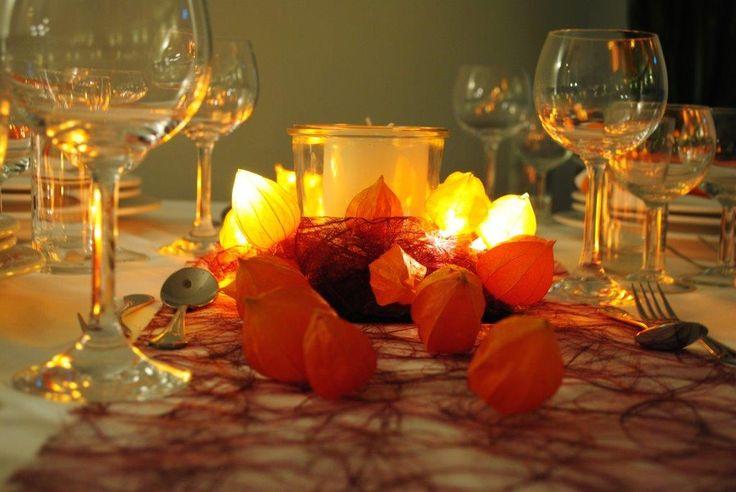 Lampionfrüchte Tischdekoration 2