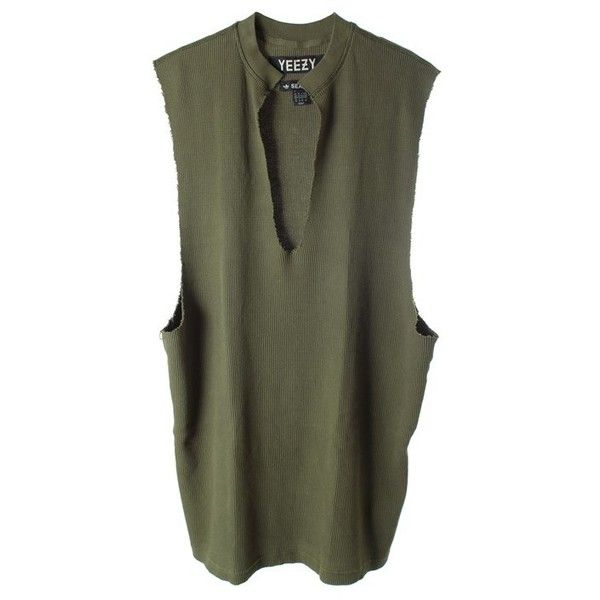 YEEZY BY KANYE WEST Thermal cotton tank found on Polyvore featuring tops, unique, v neck tank, cotton singlet, green tank top, v-neck tops and green top