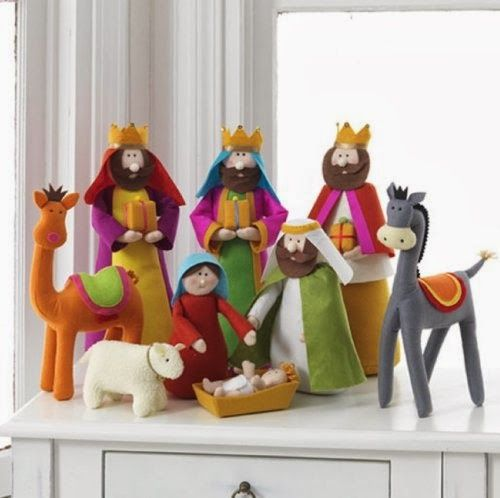 RAZ plush nativity set includes 9 figures, each made of fabric with polyester stuffing.
