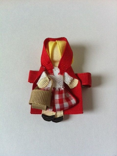 Little Red Riding Hood ribbon sculpture hair clip. $7.50, via Etsy.