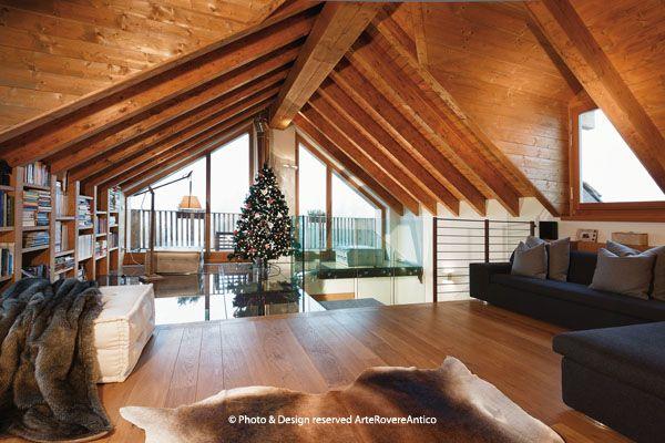 Arte Rovere Antico - Photo by Duilio Beltramone for Sgsm.it - Casa Soppalco Vetro - Sestriere Italy - Wood Interior Design - Glass - Livingroom - Mountain design