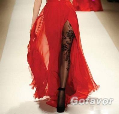 Black Fake Tattoo Peony Silk Stockings