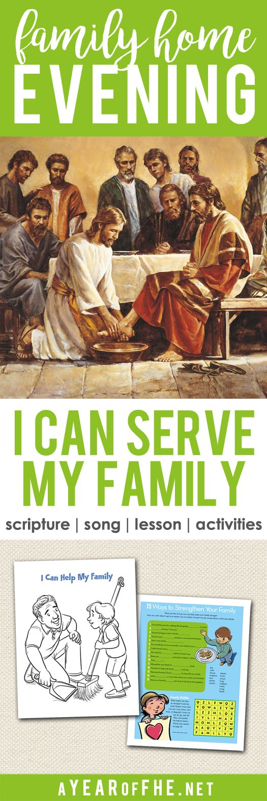 A Year of FHE / A family home evening about the importance of serving each other within our families. Includes scripture, song, lesson, and three activities to choose from. #service #lds #familiesareforever
