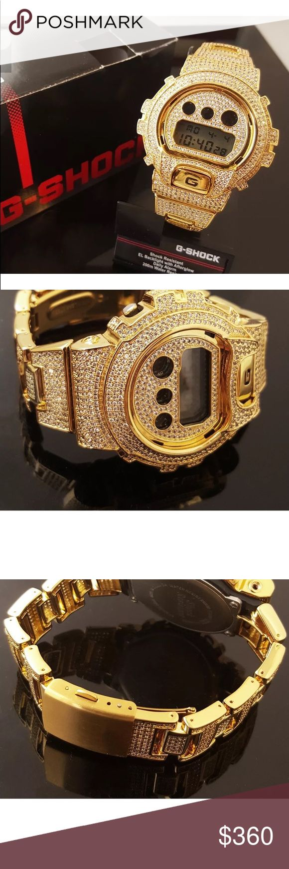 GOLD ICED OUT GSHOCK DIGITAL MENS WATCH HIP HOP NEW CUSTOMIZED, 100% Authentic Fully Iced Out Micro Pave Bezel DW6900  G-Shock Watch.  The original G Shock watch has been customized with a custom bezel and Band - in clear lab simulated diamonds. BRASS CASING - sure to last for a long time - steel doesn't tarnish, scratch or fade color  Model Number: DW6900 Movement: Digital Stone Color: Clear  Total Carat Weight: 4.00 ct look Case Size: 53.2 x 50 x 16.3mm Genuine Authentic G Shock Box and…