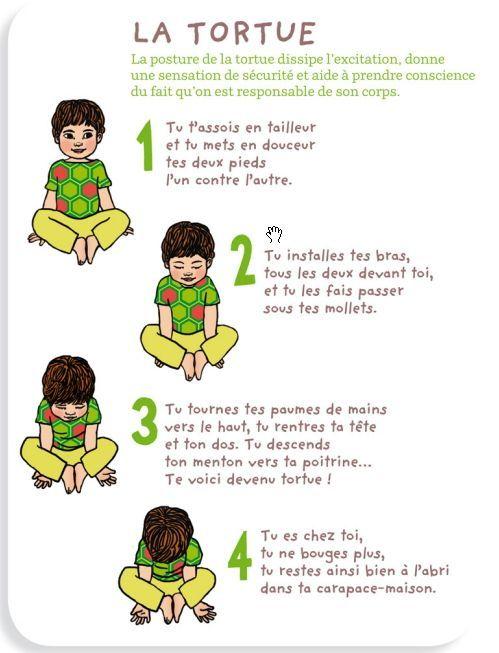 Yoga des petits : posture de la tortue, pour dissiper l'excitation, donner une sensation de sécurité et aider à prendre conscience qu'on est responsable de son corps:
