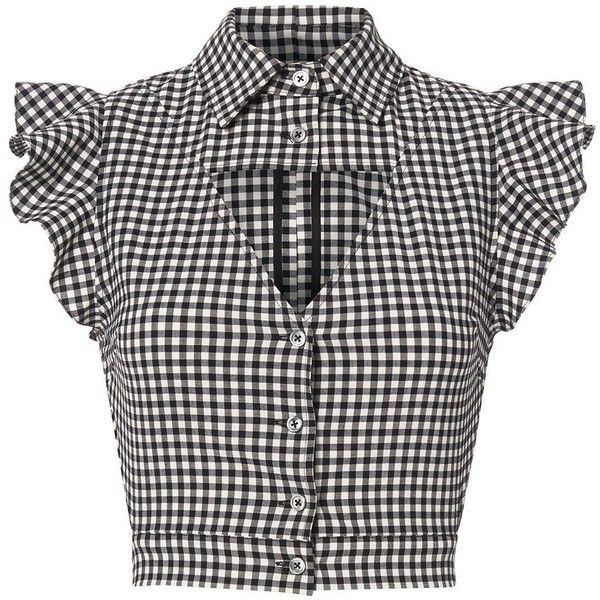 Marissa Webb Women's Denise Gingham Blouse found on Polyvore featuring polyvore, women's fashion, clothing, tops, blouses, shirts, crop tops, plaid, black and white plaid shirt and shirt blouse