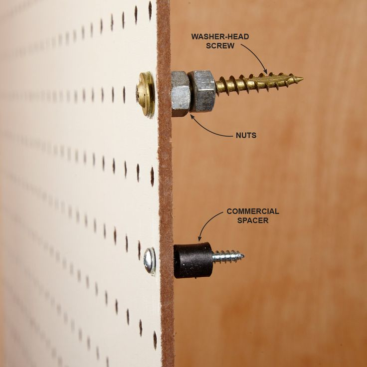[Hefty Standoffs] setting up a pegboard so that it has enough space or standoff for the hooks and hangers to function.
