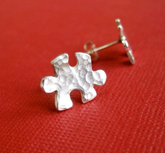 Hammered Silver Puzzle Piece Earrings Puzzle by TwistedDesigns