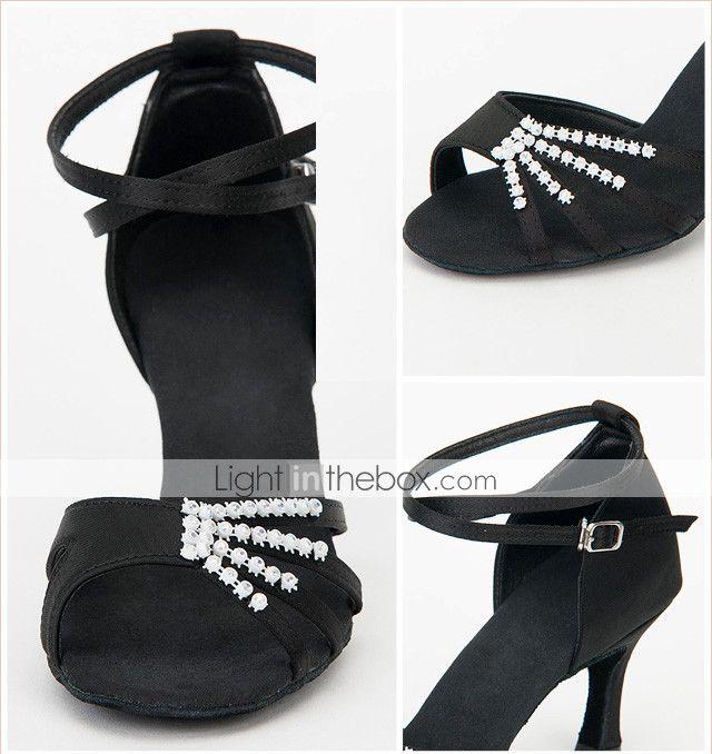αίθουσα χορού latin σατέν παπούτσια πάνω με κρυστάλλινα παπούτσια χορού πρακτική για τις γυναίκες 2015 – €17.09
