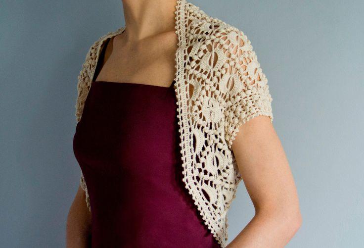 Crochet shrug PATTERN, evening crochet shrug pattern, crochet wedding shrug PATTERN only, detailed instructions in ENGLISH for every row. by FavoritePATTERNs on Etsy https://www.etsy.com/listing/169501562/crochet-shrug-pattern-evening-crochet