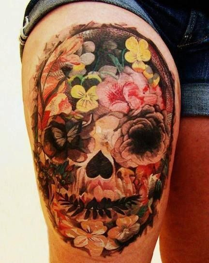 Mexican style sugar skull dia de los muertos tattoo for Mexican style tattoos