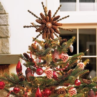 christmas crafts DIY tree toppers  pinecone