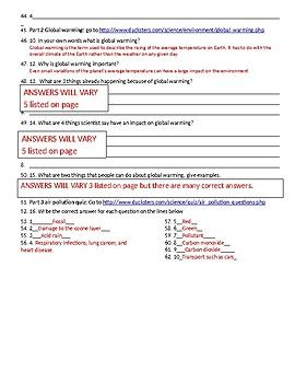 Air Pollution and Conservation webquest. With answer key ...