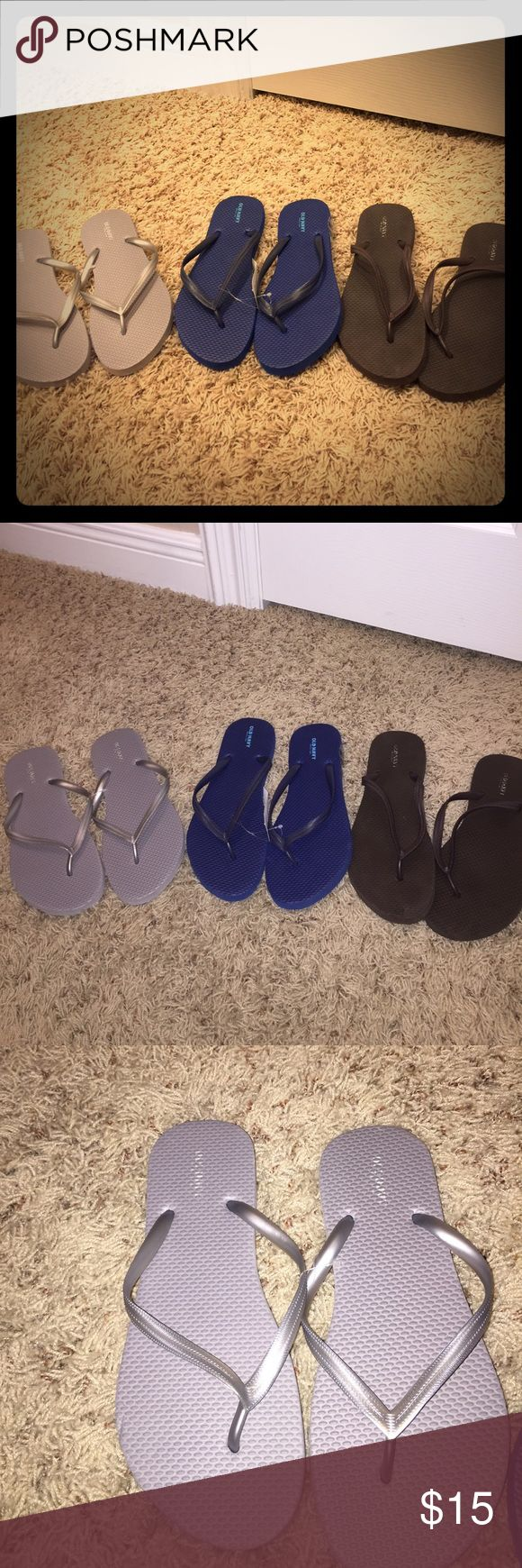 Old Navy flip flops Never worn sandals colors blue, brown and silver all size 7. Old Navy Shoes Slippers