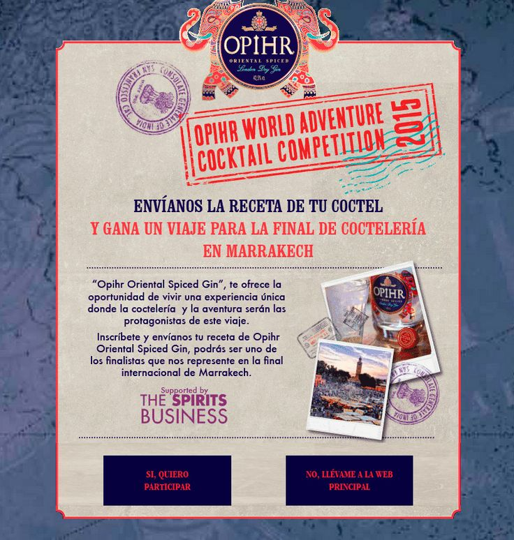 Opihr busca a los mejores cocteleros españoles.  ¿Aceptas el reto?  Un fabuloso viaje a Marrakech y ser embajador de la marca. están en juego.  ¡Participa!  #gastronomía #coctelería #viajar #concurso