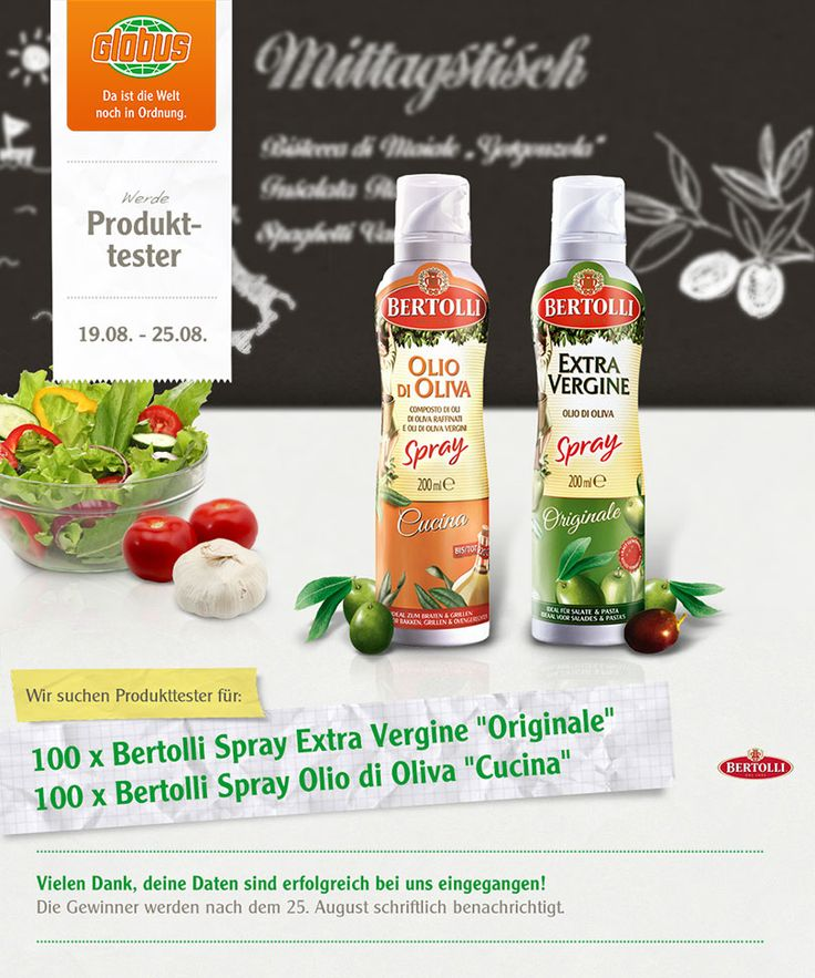 #Globus sucht 200 #Produkttester für #Bertolli Spray http://www.mein-zettelkasten.de/globus-sucht-200-produkttester-fuer-bertolli-spray/