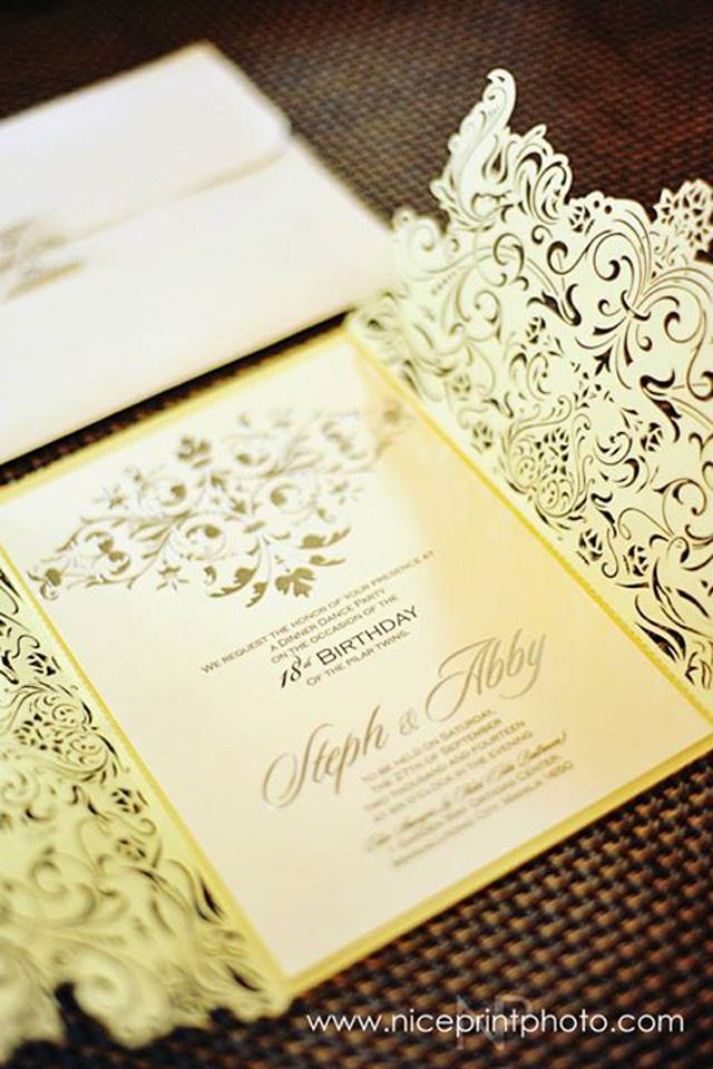 11 best debut invitations images on pinterest ph gold accents all white decor with a pop of color defined the twins debut stopboris Images