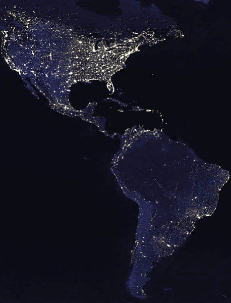 .Image: NASA  The Americas at night  This image was taken from a composite picture of the Earth at various times of the night.