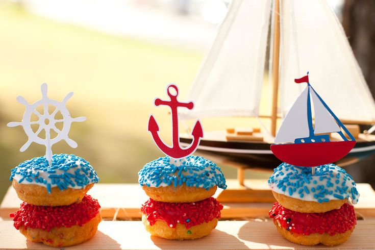Nautical Little Sailor Cupcake Toppers for Baby Shower or Birthday Set of 12