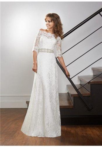 Spitze; weg von der Schulter; Schatz Mieder; Bootsausschnitt; eine Linie; tailliert; natürl …   – Wedding