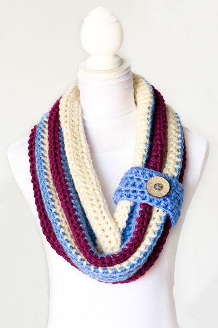 Chunky Button Cowl Crochet Pattern via Hopeful Honey