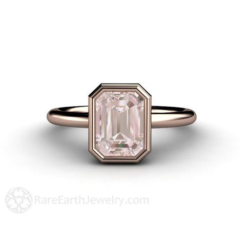 Emerald Cut Morganite - Rose Gold Bezel Setting rareearthjewelry.com