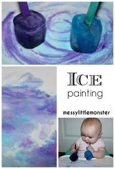 Ice painting thats taste safe for babies toddlers and preschoolers. A perfect process art technique for a winter topic.