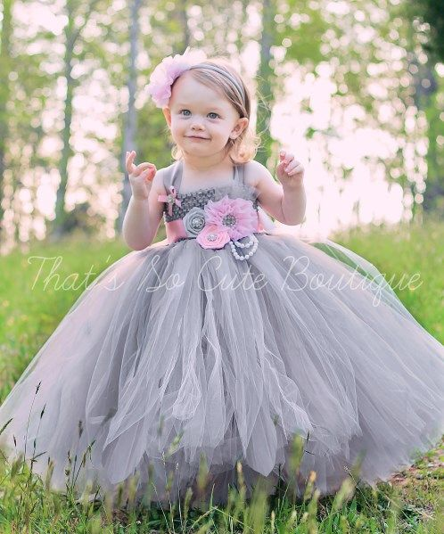 Pink and Gray Flower Girl Tutu Dress-pink, gray, grey, tutu, dress, flower girl, wedding