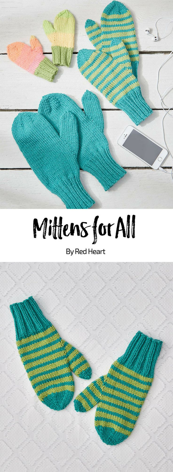 Mittens for All free knit pattern in Super Saver yarn.