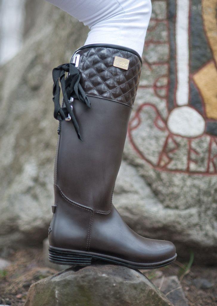 stilige, støvler, gummistøvler, ridestøvler, brun, brune, vaffelmønster, knyting, vide, skaft