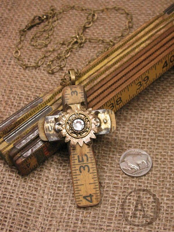 folding ruler jewelry   The Key of A - Upcycled Vintage Folding Ruler Cross Necklace