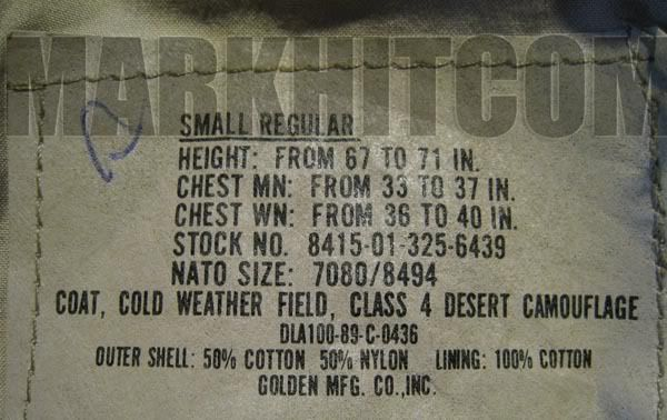 M65 Field jacket desert 3 Color Class 4 USGI Issue (: markhitcom :)