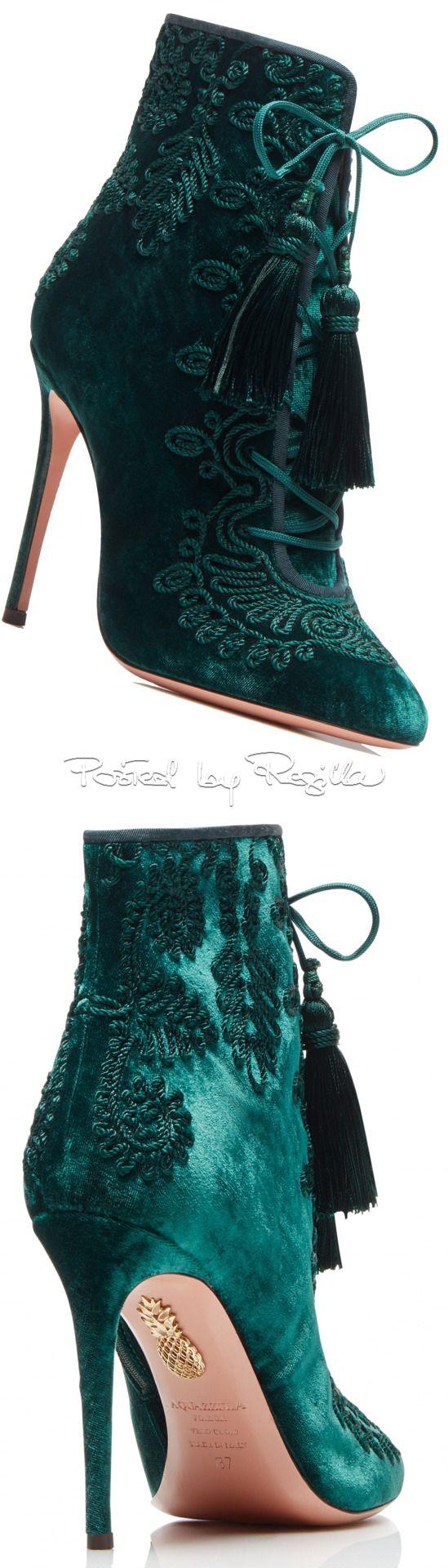 Green embroidered tassel high heel boots