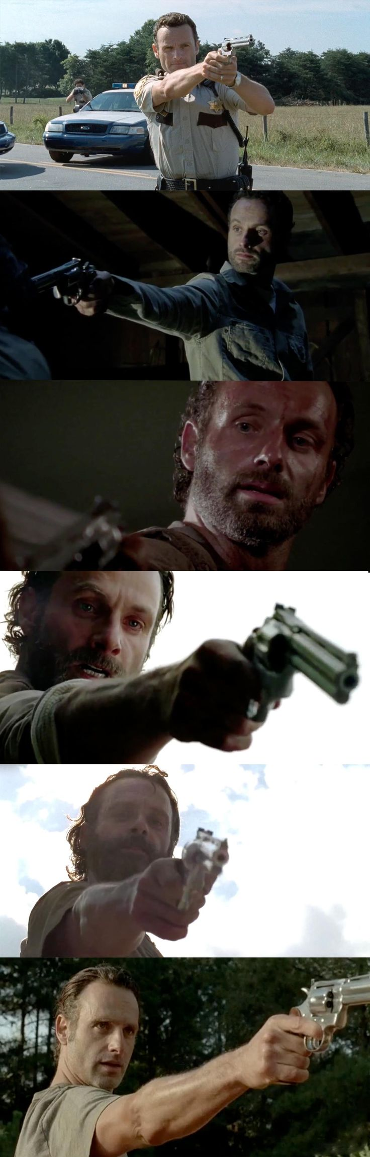 The evolution of Rick holding his gun