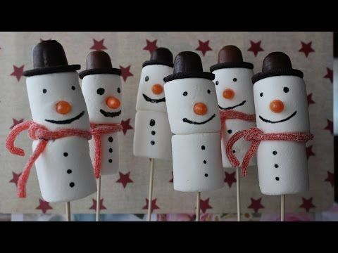 Marshmallow snowman winter treats and chocolate dipped pretzel sticks - YouTube