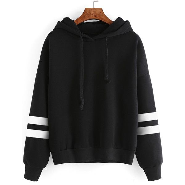 SheIn(sheinside) Varsity Striped Drop Shoulder Hooded Sweatshirt ($17) ❤ liked on Polyvore featuring tops, hoodies, black, cotton hooded sweatshirt, cotton hoodies, long sleeve hoodie, striped hooded sweatshirt and hooded sweatshirt