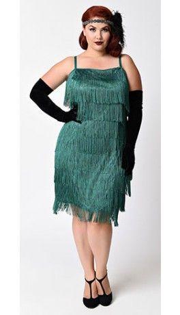Unique Vintage Plus Size Emerald Green Speakeasy Tiered Fringe Flapper Dress