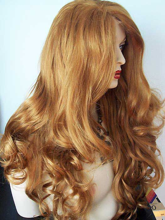Extra Long Wavy Ginger Blonde Synthetic Lace Front Kim