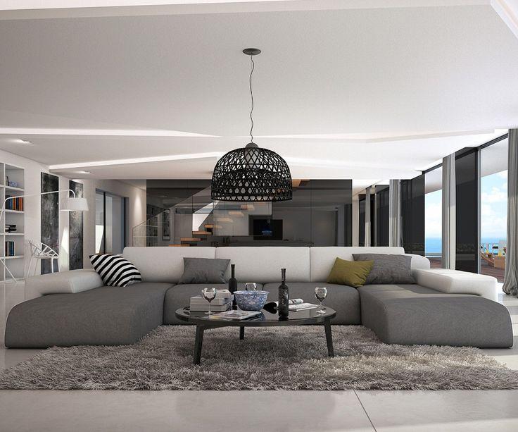 Wohnlandschaft Resida 400x250 cm Grau Weiss Möbel Sofas Wohnlandschaften