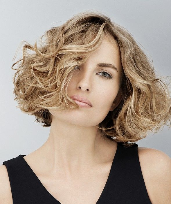 Medium Blonde wavy coloured multi-tonal messy bob womens haircut hairstyles for women