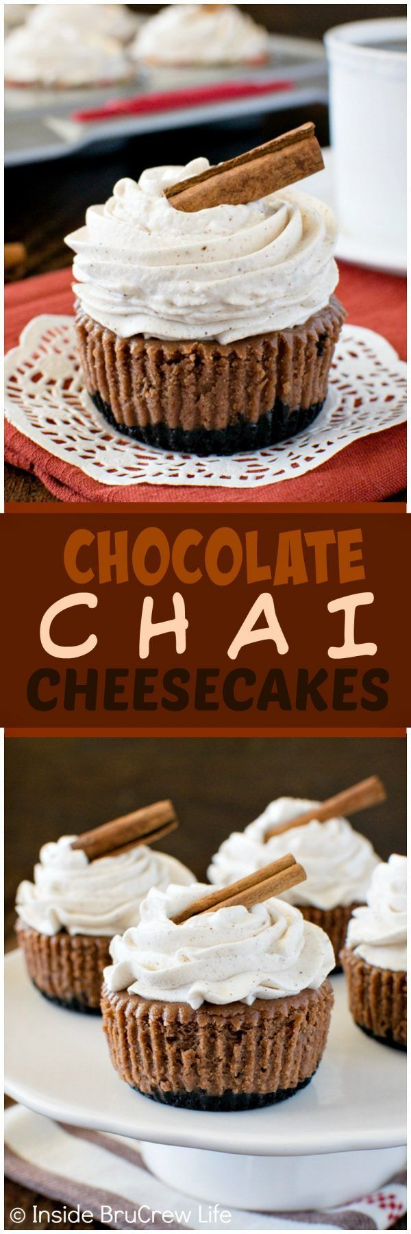 Chocolate Chai Cheesecakes - a chocolate cookie crust & a homemade spice whipped creams adds so much flavor to these mini cheesecakes. Great dessert recipe for fall parties!