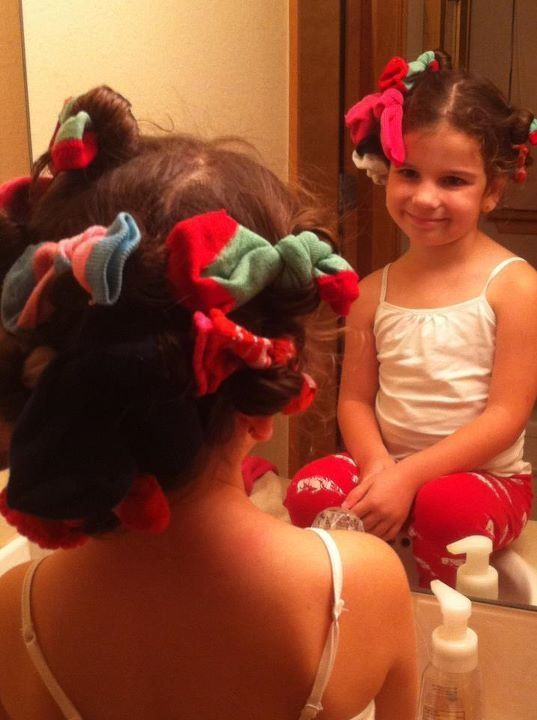 """Getting """"Sock Curls"""" is the easiest thing ever!   Just gather all of your little girls or your (if you are doing your hair) """"mismatched"""" s..."""
